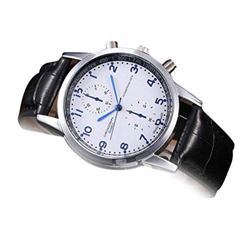 FeixiangReloj Deportivo Pareja Reloj Nuevo Reloj De Pulsera De Cuarzo De Acero Inoxidable De Cuero Unisex (Azul Oscuro, A)
