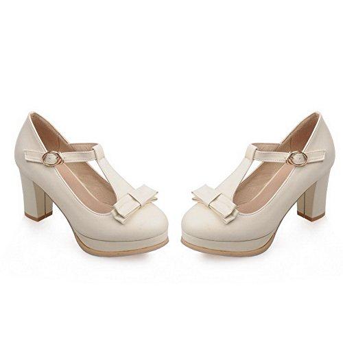 AllhqFashion Damen Hoher Absatz Weiches Material Rein Schnalle Rund Zehe Pumps Schuhe Cremefarben