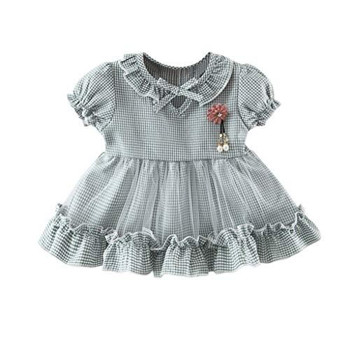 YWLINK Kleinkind Kleidung MäDchen Baby Klassisch Kariert MäDchen GerüSchte RüSchen Mesh Patchwork-TüLlrock Party Prinzessin Kleider(Grün,12-18Monate)