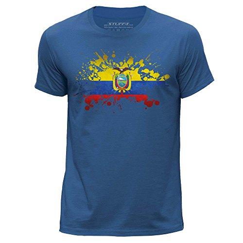 Stuff4® Herren/Klein (S)/Königsblau/Rundhals T-Shirt/Ecuador Flagge Splat -