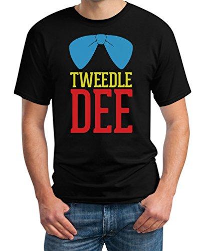 Tweedledee Zwiedeldei Tweedledum Zwiedeldum Kostüm T-Shirt - Wunderland Wonderland Alice Schwarz