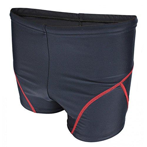 Aquarti Jungen Badehose Schwimmhose kontrastfarbene Nähte, Farbe: Schwarz / Rot, Größe: 140