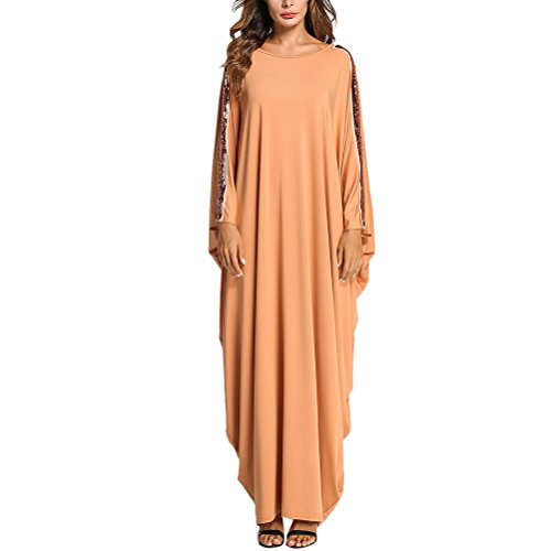 Zhhlaixing Puntadas Bat Sleeve Maxi Vestidos Islámico Ropa Marroquí Chicas Kaftan Caftán Dubai Túnica Muslims Dresses