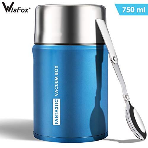WisFox 750ML Thermobehälter für Essen Edelstahl Thermo Speisebehälter Speisegefäß Essensbehälter Premium Isolierbehälter Box mit Klapplöffel, Aufbewahrungstasche und Schwammbürste(Blau)