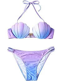 66612b8bf44a oobest Bikini da Donna con Conchiglia a Sirena, Reggiseno di Perle, Costume  da Bagno
