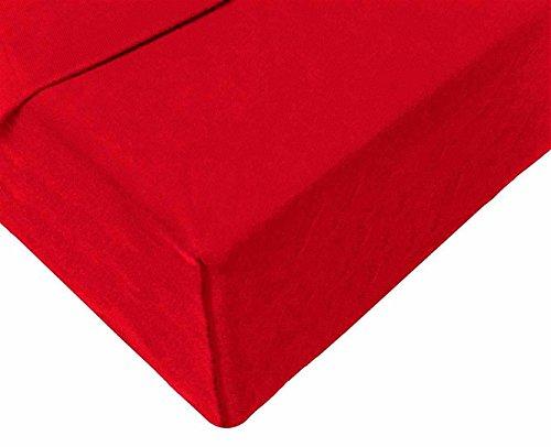 Double Jersey - Spannbettlaken 100% Baumwolle Jersey-Stretch bettlaken, Ultra Weich und Bügelfrei mit bis zu 30cm Stehghöhe, 160x200x30 Rot - 4