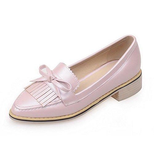 AgooLar Femme Couleur Unie Pu Cuir à Talon Bas Pointu Tire Chaussures Légeres Rose