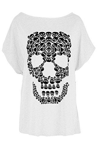 Damen Halloween Schlabber Lagenlook Top Damen Gespenstisch Schädel Fledermausärmel Unheimlich Locker Sitzend T-shirt - Weiß, S/M (EU 36/38) (Halloween-tops)
