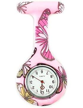Silicon Schmetterling Runde Kittel Brooch Analoge Quarz Krankenschwester Uhr Pink