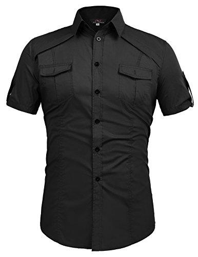 Paul Jones®Men's Shirt Herren Cricodile Hunter Kostüm Shorts, Ärmel, Knopfleiste vorne, mit Tasche - Schwarz - Klein