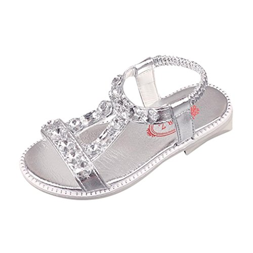 (QinMM Sommer Kinder Baby Mädchen Sandalen Kristall Strand Sandalen Prinzessin Roman Schuhe Freizeitschuhe Niedlich Gold Silber Rosa 25-35 (34 EU, Silber))