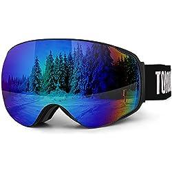 TOMOUNT Lunettes Masques de Ski Homme Femme Anti-Buée À Vie Anti-UV400, Aération Anti-Vent Anti-Choc Anti-Rayure, OTG Grande Verre Double Miroité S3 Démontable, Sangle Réglable Bleu-Vert