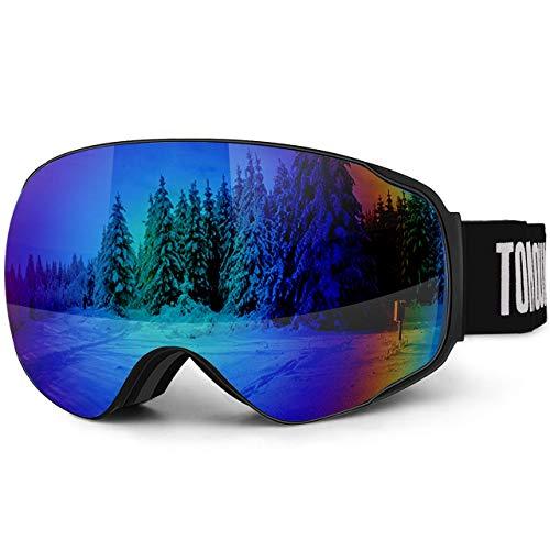 TOMOUNT Lunettes Masques de Ski Homme Femme Anti-Buée À Vie Anti-UV400, Aération Anti-Vent Anti-Choc Anti-Rayure, OTG Grande Verre Double Miroité S3 Démontable, Sangle Réglable Bleu-V