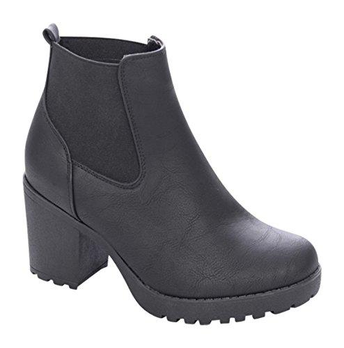 Damen Stiefeletten Ankle Boots Plateau Stiefel Schuhe B2 Schwarz