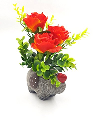 Imported Eternal Bouquet ~ Red Elephant Shaped Flower Vase With Artificial Flowers...