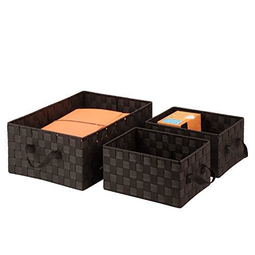 Honey-Can-Do OFC-03697 Double Woven Basket General Purpose Organizer Kit with Handles, Espresso Brown, 3-Pack