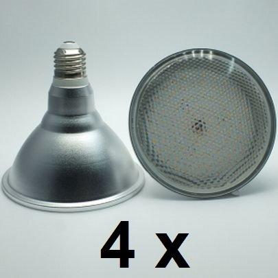 4 x 18 Watt PAR 38 LED Lampe, Strahler, Fassung E27, Lichtfarbe warmweiß 2700 Kelvin, 1500 Lumen entspricht ca. 150 Watt Glühlampe, 120° Ausstrahlwinkel. Schutzklasse IP44 für Innen und Außen