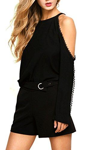 Schicke Damen highwaist Shorts schwarz mit Ziergürtel Stretch, Größe:M-Maße beachten, Farbe:Schwarz (Fendi Tasche Neue)