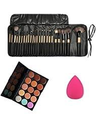 Susenstone 1set/15 Color corrector paleta + esponja Puff + 24 pinceles de maquillaje cosmético de PC