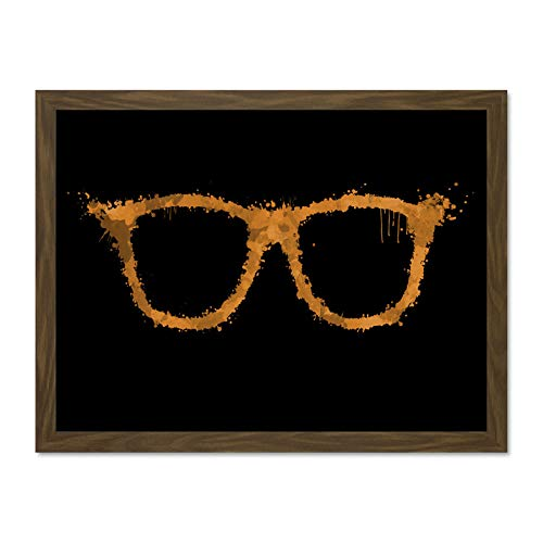 Doppelganger33 LTD Painting Drawing Paint Splash Spectacles Glasses Orange Art Large Framed Art Print Poster Wall Decor 18x24 inch Supplied Ready to Hang