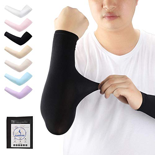 iOutdoor Products Arm-Ärmel Cooling UV-Schutz, Elastische, Atmungsaktiv, Anti-Rutsch, Kein Verblassen, Pillingresistent, Unisex-Arm Sleeves UPF 50+, 1 Paar (Schwarz)