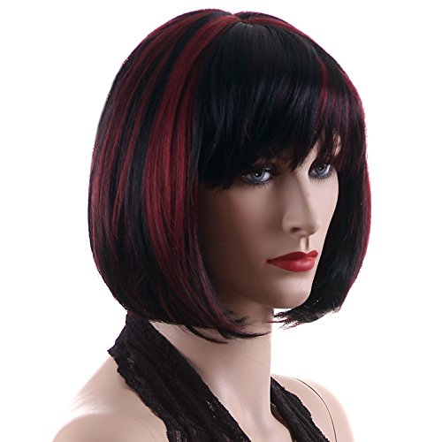Songmics Neu stilvoll Perücke Haar Wigs Weiblich Schwarz+rot Glatt Kurz für Karneval Cosplay Halloween (Emo Perücke Schwarz)