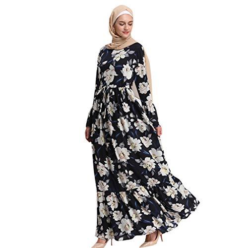 Lazzboy Moslemische Frauen-Lange Maxi-Kleid-Robe Abaya Islamische Blume-Dubai-Strickjacke Ramadan Muslimische Langarm Frauen-langes Maxi-Kleid Kleidung Dubai Patchwork Kleider Muslime(L)