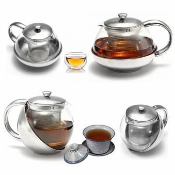 Théière en verre en acier inoxydable de thé en vrac feuille avec infuseur en 750ml 500ml