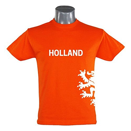 T-Shirt Holland Löwe Kinder orange Gr. 94 - 164 - Fanshirt Fanartikel Fanshop Fußball WM EM Germany, Größe:164