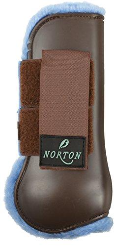 guetres-ouvertes-norton-confort-coque-chocolat-mouton-synthetique-bleu-ciel-taille-cheval