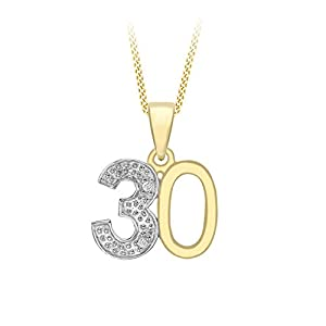 Carissima Gold 9ct Yellow Gold Diamond Set '21' Pendant on Chain Necklace of 46cm/18