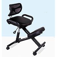 GAOJIAN Ergonómicamente diseñado silla de rodilla con la espalda y la manija Oficina silla de rodilla ergonómico Postura cuero negro silla con ruedas