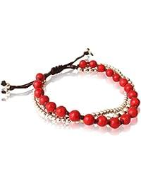 Chic-Net Armband dreilagig Koralle rot Messing Perlen Baumwolle gewachst braun nickelfrei verstellbar