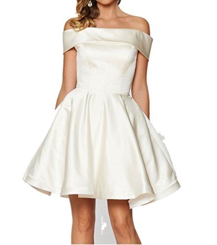 Victory Bridal Weiss Stickreien Damen Abendkleider Cocktailkleider Partykleider Festlichekleid Kurz Weiß
