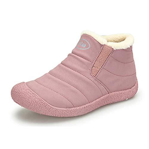 lz Winter Warme Schuhe Flache Gummistiefeletten Kurzen Plüsch Lässige Slip On Weiche Nähen Schuhe ()