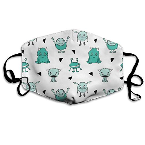 All The Monsters Green On White Dust Mask Anti Dust Pollution Mask Washable Polyester Mouth Mask with Adjustable Straps
