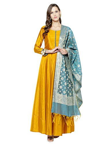 Inddus Yellow Woven Embroidered Art Silk Anarkali Salwar Suit Dupatta Material (Un-Stitched)