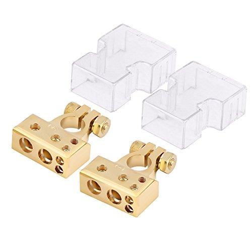 Positive Negative Batterieklemmenklemme mit Schutzabdeckung für 0/1 2 4 8 AWG Gauge(Gold) -