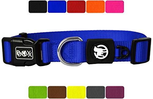 DDOXX Hundehalsband Nylon in vielen Farben & Größen für kleine & große Hunde | Halsband Hund Katze Welpe | Katzenhalsband klein | Hunde-Halsbänder breit Leuchtend | Blau, M