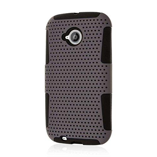 E2 Fusion (Motorola Moto E (2nd Gen) Gehäuse, MPERO FUSION M doppelschichtiges Silikon Polycarbonat, weiches, rutschfestes Gehäuse mit strukturiertem Stoff für Moto E [Perfekte Passform und präzise Ausschnitte für die Anschlüsse] - grau)