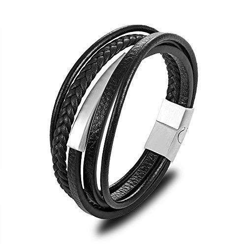 Lederarmband 23 cm Herren Echtes Leder Armband Für Herren Charm Multilayer Magnet Handgemachte Armreifen Für Coole Jungs