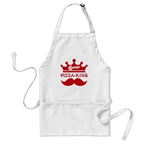 Simplyeo Tablier de Cuisine pour Femme à Pizza King Moustache Motif Tabliers pour Filles Cou réglable Attaches de Tour de Taille Tablier de Cuisine pour Homme
