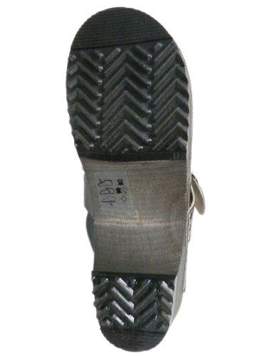Buxa Damen Holz und Leder Clogs mit traditionellen Schnalle Schwarz