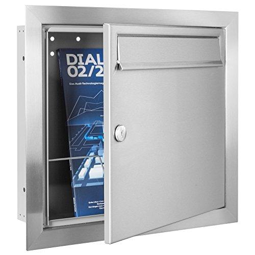 MOCAVI UP1 Edelstahl Unterputz-Briefkasten, Qualitäts-Postkasten unter Putz aus deutscher Fertigung, Einbau-Edelstahlbriefkasten - 3