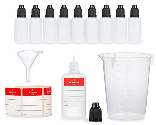 10 x 30 ml Liquidflaschen mit Trichter + Messbecher + Etiketten, z.B. für E-Liquids + E-Zigaretten, LDPE Plastikflaschen, Liquid Dosierflaschen, Tropfflaschen bzw. Quetschflaschen + schwarze Deckel -