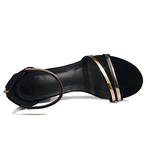 TAOFFEN Femmes Talons Hauts Sandales Bloc Cremallera Sangle De Cheville Chaussures Noir