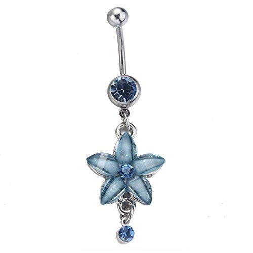 Beydodo Damen Bauchnabelpiercing Chirurgenstahl Silber mit Anhänger Blume Blau Zirkonia Nabelpiercing Bauchnabel Piercing Barbell