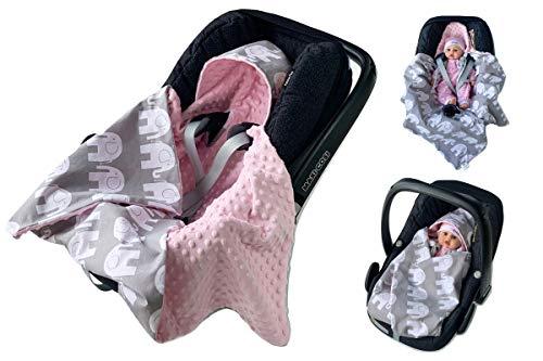 babees© einschlagdecke Minky Baby Carcasa Auto asiento techo [Elefantes + Color Rosa]