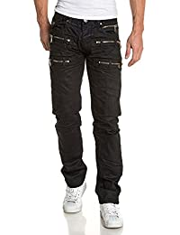 BLZ jeans - Jeans noir huilé droit zips triple ceinture