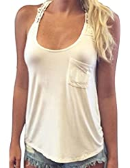Tongshi Verano de las mujeres chaleco de la tapa de la blusa sin mangas tapas del tanque ocasionales de la camiseta de encaje
